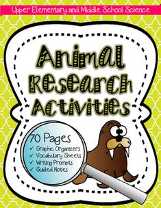 Animal Research Activities for big kids tied to life science/ecology units! Includes 70 pages of guided notes to help support student understanding of ecology concepts through an animal of interest! Meets NGSS standards and ELA CCSS!Biomes Project.6th grade.