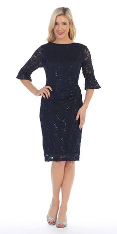 b0f3b2bb4fc Short Wedding Guest Dress with Three-Quarter Sleeves Navy Blue