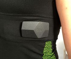 OmSignal shirts capture and wirelessly send your breathing and heart rate data, using this little black box on the side of the shirt.