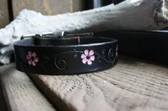 Dark brown leather dog collar with pink flower by TravelingW, $23.00