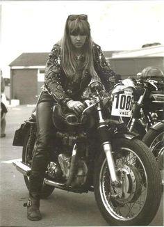 Old School cafe racer chick
