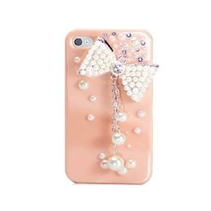 Handmade hard case for iPhone 4 & 4S: Bling pearls bow (customized are welcome). $19.99, via Etsy.