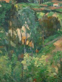 CEZANNE,1875-76 - Paysage au Toit Rouge (Orangerie) - Detail -l  - CEZANNE à Victor Chocquet (jardinier) : « […] je ne pourrai souhaiter pour vous que la réussite de vos plantations et un beau développement de végétation : le vert étant une couleur des plus gaies et qui fait le plus de bien aux yeux. » (Gardanne, 11 mai 1886)