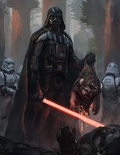 Darth Vader holding a dead ewok with his light saber in the other hand. Art by Raph Lomotan. See the Star Wars art of February 2017 here. Star Wars Fan Art, Droides Star Wars, Darth Vader Star Wars, Anakin Vader, Anakin Skywalker, Darth Maul, Star Wars Personajes, Sith Lord, Jedi Sith