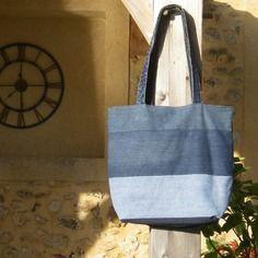 Grand sac cabas souple en jean recyclé - intérieur à rayures - réversible