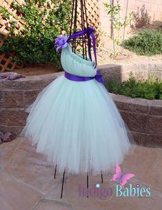 Tutu Dress Flower Girl Dress Mint Green Tulle by indigobabies, $65.00