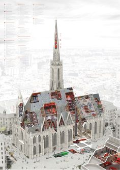 Detailed cutaway drawing of the Stephansdom in Vienna, occupied by the enigmatic 'Russian Hacker'. Bartlett School Of Architecture, Russian Architecture, Architecture Collage, Architecture Graphics, Religious Architecture, Architecture Drawings, Architecture Portfolio, Gothic Architecture, Concept Architecture