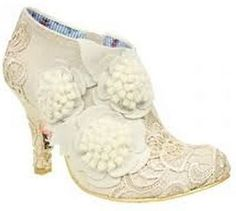 IRREGULAR CHOICE CHEEKY MOOSE OFF WHITE LACE DETAIL BRIDAL BOOTIE JUST ARRIVED like this but not the three circle things