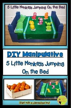 Differentiation Station Creations: DIY: Five Little Monkeys! Math Activities For Kids, Fun Math Games, Hands On Activities, Subtraction Activities, Preschool Songs, Preschool Ideas, Book Activities, Teaching Kindergarten, Teaching Kids