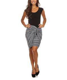 Look at this #zulilyfind! Black & White Geometric Stripe Twist Dress by Pretty Young Thing #zulilyfinds