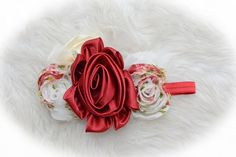 Classically elegant with a beautiful satin, burgundy flower and floral, shabby flowers!