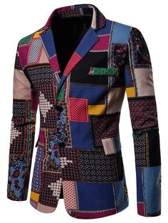dc1ad2a3bab Color Block Patchwork Single-Breasted Slim Mens Casual Blazer