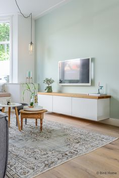 Floating Tv bench topped with wood tv meubel Ikea Jaren 30 woning Woonkamer makeover Haarlem ©BintiHome Home Living Room, Living Room Color, Interior, Living Room Decor, Home Decor, Room Inspiration, Living Room Wall, Interior Design, Home And Living
