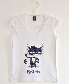 Tricou cu Motanov, de fete Buy Now, V Neck, Stuff To Buy, Tops, Women, Fashion, Moda, Fashion Styles, Fashion Illustrations
