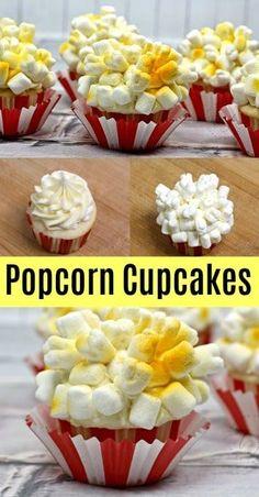Popcorn Cupcakes To Celebrate Dumbo 2019 Popcorn Cupcakes, Yummy Cupcakes, Themed Cupcakes, Cupcake Recipes, Baking Recipes, Dessert Recipes, Köstliche Desserts, Delicious Desserts, Ideas Party