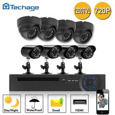 Techage 8CH 720P DVR CCTV System 4pcs 1200TVL 2.8mm 3.6mm Waterproof Indoor Camera 4 Mini 1.0MP Outdoor Camera Surveillance Kits #women, #men, #hats, #watches, #belts
