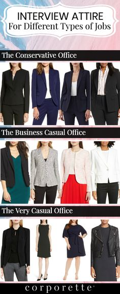 Wondering what the best interview attire is it depends on the job you're interviewing for - and the type of office it is. If you're a creative persona Interview Attire Women, Interview Dress, Job Interview Clothes, Interview Advice, Job Interviews, Business Professional Outfits, Business Casual Attire, Corporate Attire Women, Business Formal