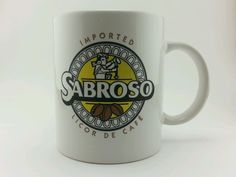 White Sabroso Licor De Cafe Ceramic coffee mug. Mexico. 12oz #Mug
