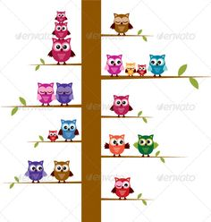 Cartoon Owls on Branches - Animals Characters