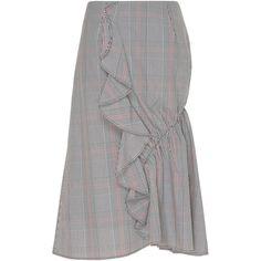 Erika Cavallini Brigitte Asymmetric Skirt (5.955 ARS) ❤ liked on Polyvore featuring skirts, plaid, knee length a line skirt, plaid a line skirt, plaid skirts, asymmetrical skirt and tartan plaid skirt