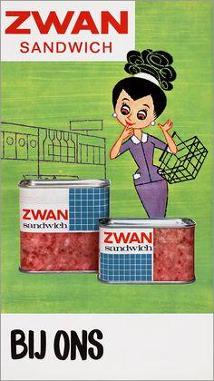 Vintage 60s Dutch illustration store window poster advertisement for Zwan Sandwich (sandwich spam).