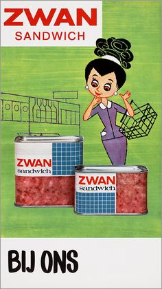 Vintage 60s Dutch illustration store window poster advertisement for Zwan Sandwich (sandwich spam).