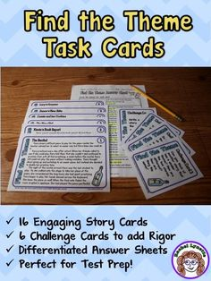 Theme task cards: Engaging short stories to practice finding the theme. Differentiated student answer sheets and challenge cards too! $