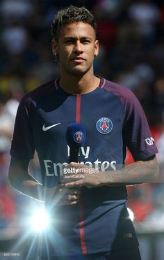 Neymar Jr of PSG is presented to the supporters before the French Ligue 1 match between Paris Saint Germain (PSG) and Amiens SC at Parc des Princes on August 5, 2017 in Paris, .