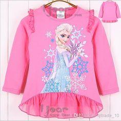 Wholesale Frozen Girl Lace T Shirt - Buy Children Girls Frozen Elsa Anna Lace T-Shirt Cotton Long Sleeve Kids Clothing Child Autumn Clothes Frozen A532 $7.33 | DHgate