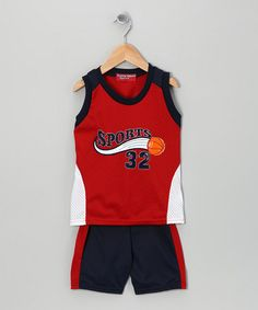 Take a look at this Red 'Sports 32' Mesh Tank & Shorts - Toddler & Boys by Coney Island Kids: Boys' Sets on #zulily today!