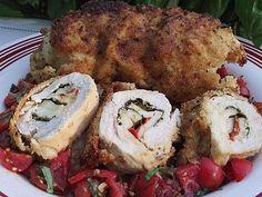 Crispy Stuffed Chicken Caprese with Fresh Tomato Basil Relish...Thank you Ingrid @ The Cozy Apron!