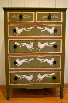 Hand Painted Olive Green with Fox Vintage Chest by meredithmbrooks, $450.00