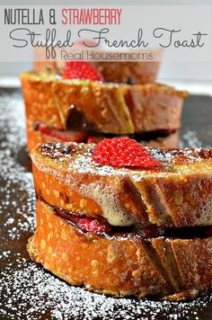 Nutella and Strawberry Stuffed French Toast Recipe ~ This french toast is stuffed with Nutella and strawberries making them a super yummy Valentine's Day breakfast or dessert!