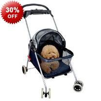 95cm Black Sturdy Pet Dog Stroller Trolley & Canopy - Mesh Cover - 11kg Maximum Weight - Folding