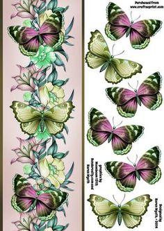 Vintage Butterflies DL on Craftsuprint designed by Karen Wyeth - A pretty…