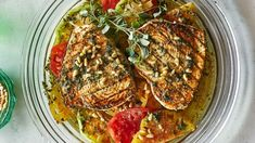 Grilled Swordfish or Haddock with Tomatoes and Oregano. There's only a kiss of Honey in the Vinaigrette, but it's essential. With all these Briny Flavors, you need Honeys Sweetness for Balance. Grilled Fish Recipes, Grilling Recipes, Seafood Recipes, Healthy Grilling, Grilled Swordfish, Swordfish Recipes, Oregano Recipes, Fish And Meat, Clean Eating Snacks