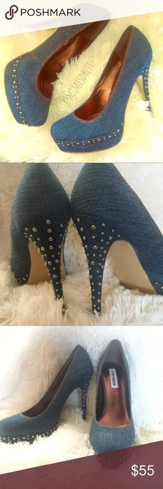 "Steve Madden TRISTANO studded denim pumps Gorgeous denim Pumps by Steve Madden. New without box. These were only tried on. Gold studded at toe & heel. Platform base, measure approx. 5"" tall. Fit true to size. Steve Madden Shoes Heels"