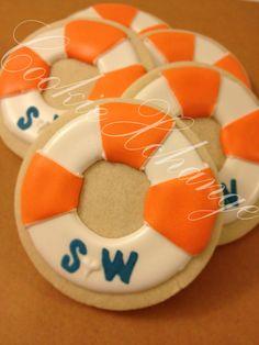 Nautical Life Preserve Decorated Cookie monogram by CookieXchange, beach, wedding, orange, blue, white, shower, bridal, seaside