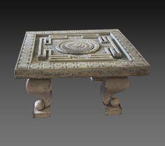 Cod. 9000-0048 - Jain ritual fountain representing a Yantra - Marble - 18th Century -  Rajastan, India - H. 8 - W. 91 - D. 91 cm. REQUEST MORE INFO - curto.tonio@gmail.com