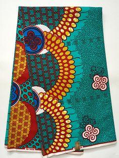 African Print Fabric/Dutch Wax/ Ankara Blue Red Gold