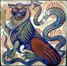 Lion and Snake tile by William de Morgan, at the Fulham Studio, Birmingham Museum Dragons, Art Nouveau, Birmingham Museum, William Morris, Tuile, Antique Tiles, Victorian Art, Needlepoint Canvases, Arts And Crafts Movement