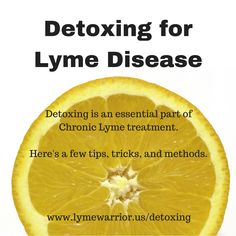 Detoxing is a vital part of fighting Lyme Disease as well as aiding in relief from a herxheimer reaction (also known as die-off, release of endotoxins).