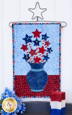 Blooming Series Stars (July) Pattern: Want to purchase the full kit Small Quilt Projects, Quilting Projects, Quilting Designs, Quilting Ideas, House Quilts, Barn Quilts, Small Quilts, Mini Quilts, Patriotic Quilts