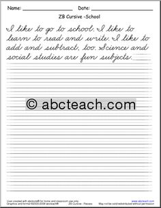 Practice Cursive Writing. Short Sentences. | worksheets for kids ...