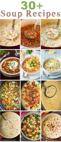 30 Soup Recipes from Cooking Classy - enough to get you through the cold fall/winter ahead. Each and every one of them is AMAZING! A bunch of them are slow cooker recipes too. Think Food, I Love Food, Food For Thought, Good Food, Slow Cooker Recipes, Crockpot Recipes, Cooking Recipes, Healthy Recipes, Slow Cooking