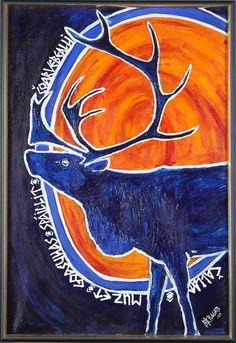 BARBRO K POGGATS. Renmotiv med samisk text, olja på duk, signerad BK Poggats samt daterad -00. Baby Witch, Norse Mythology, Aboriginal Art, Pictures To Paint, Rug Hooking, Reindeer, Sweden, Vikings, Folk Art