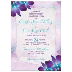 Turquoise and purple blue Dendrobium orchid flower wedding invitation with lilac purple and turquoise watercolor background and torn edge look paper background for the wedding invitation wording. This type of orchid is violet purple and teal or...