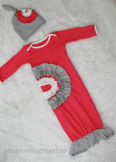 Baby Girl Ruffle Mermaid Gown and Hat Infant Newborn Gift Set Vintage Inspired Coral Pink, Gray, Cream on Etsy, $44.00
