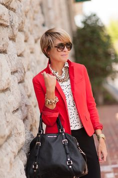 Print chiffon top. Black skinnies. Chunky necklace. Pop color blazer.