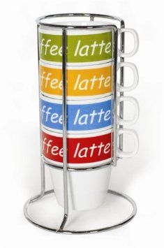 Amazon.com: Imusa Stackable Cappucino Mug Set with Chrome Rack, 4 Piece, Multi Color: Kitchen & Dining